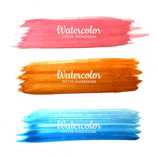 Abstract colorful hand drawn watercolor stroke design set Premium Vector
