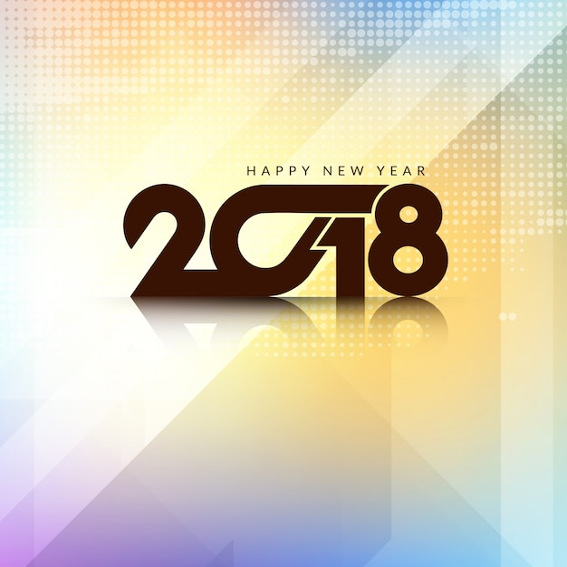 Abstract colorful Happy New Year 2018 background Free Vector