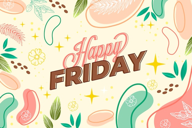Abstract colorful hello friday background Free Vector