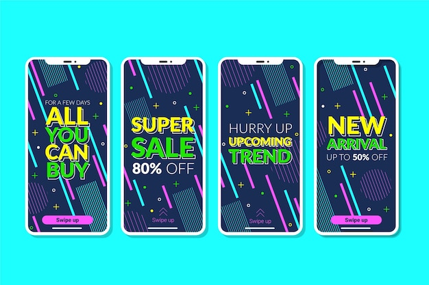 Abstract colorful instagram sale stories Free Vector