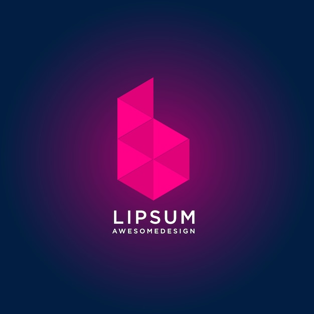 Abstract colorful letter b logo design with low poly style Premium Vector