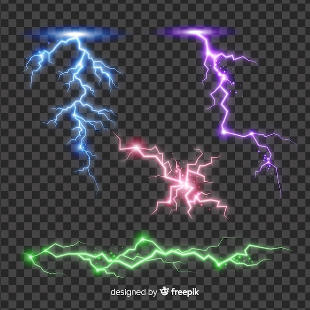 Abstract colorful lightning collection on simple background Free Vector