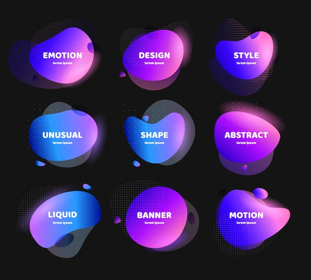 Abstract colorful liquid geometric shape set. fluid gradient design for banner, card, brochure. isolated waves. Premium Vector