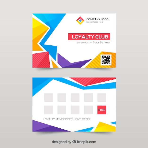 Abstract colorful loyalty card template Free Vector