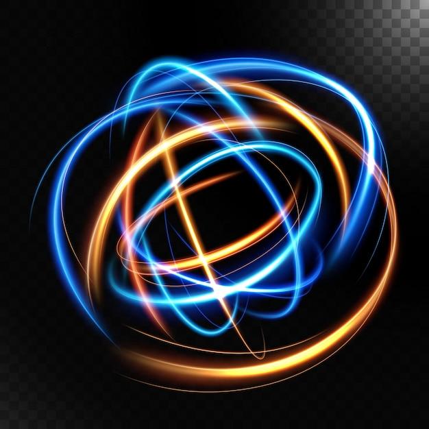 暗い背景で隔離の抽象的なカラフルな明るい渦巻き。 Premiumベクター