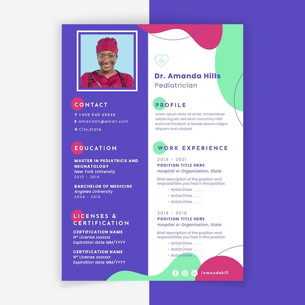 Abstract colorful medical resume Free Vector