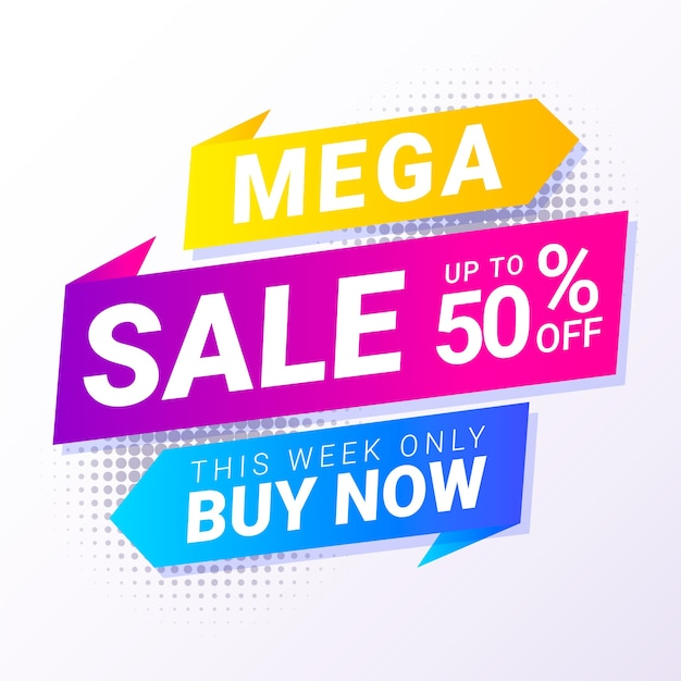 Abstract colorful mega sale discount banner Free Vector
