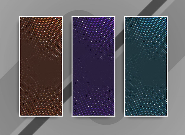 Abstract colorful modern dots banners set Free Vector