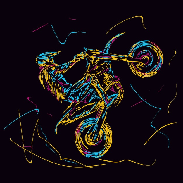 Abstract colorful motorcross racer Premium Vector