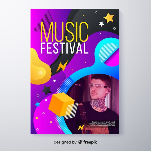 Abstract colorful music festival poster with photo Free Vector