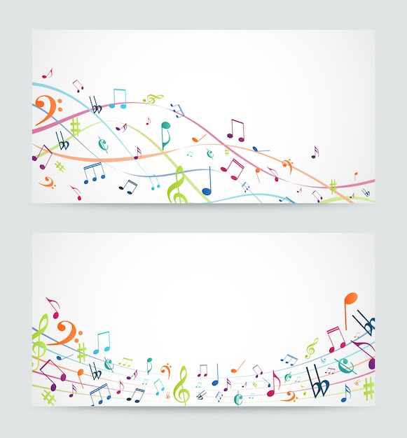 Abstract colorful music notes banner Premium Vector