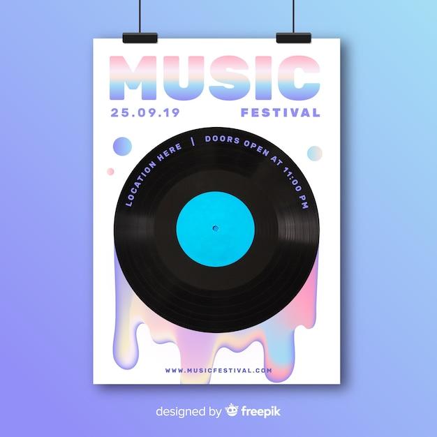 Modello variopinto astratto del manifesto di musica con la foto Vettore gratuito