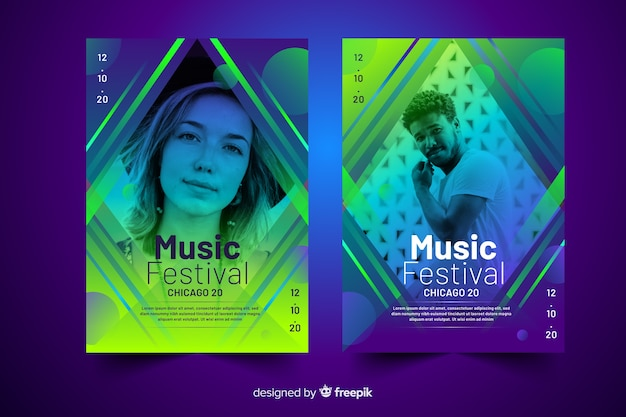 Abstract colorful music poster template with photo Free Vector