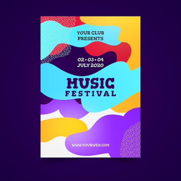 Abstract colorful music poster Free Vector