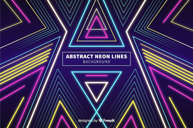 Abstract colorful neon lines background Free Vector