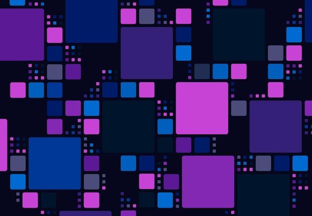 未来的な正方形のミックスサイズのパターンデザインアートワーク技術の背景の抽象的なカラフル。 Premiumベクター