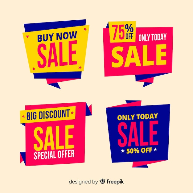 Abstract colorful origami sales banners Free Vector