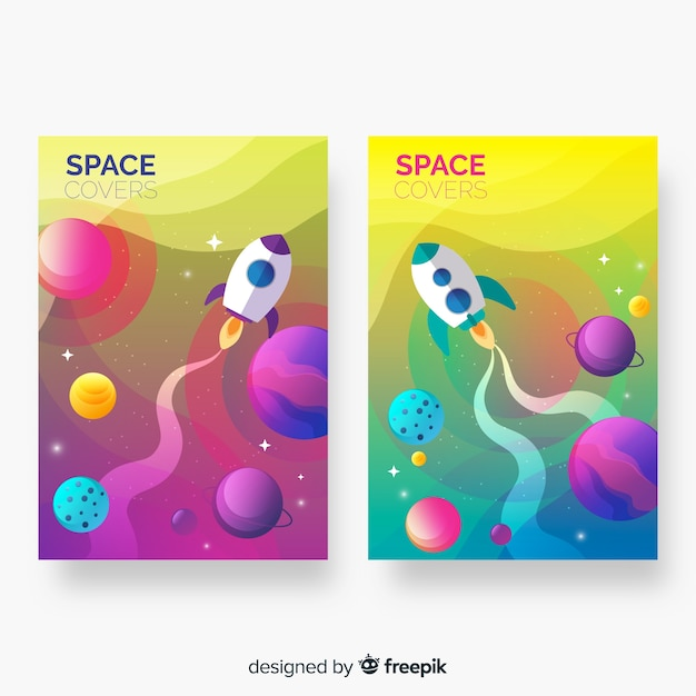 Abstract colorful outer space covers Free Vector