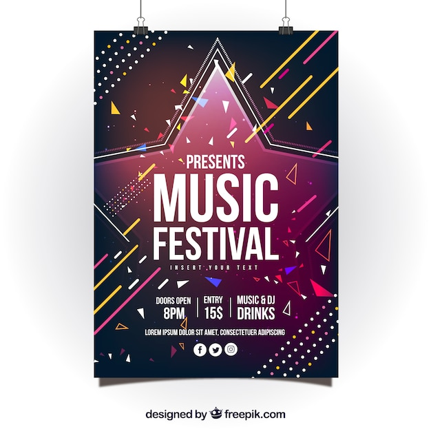 Abstract colorful poster design for music party Free Vector