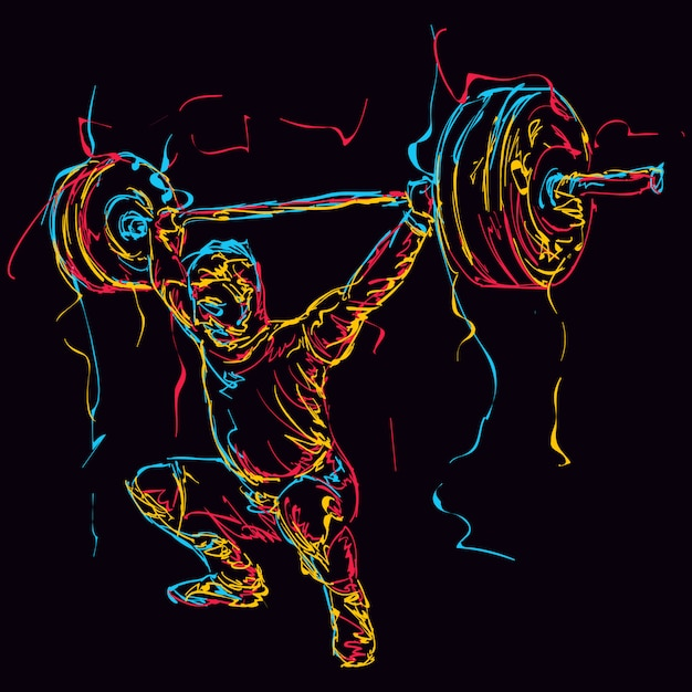 Abstract colorful powerlifter Premium Vector