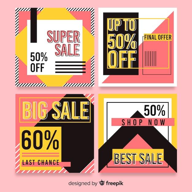 Аннотация красочные продажи instagram пост коллекция Бесплатные векторы