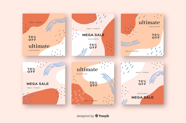 Abstract colorful sale instagram post set Free Vector