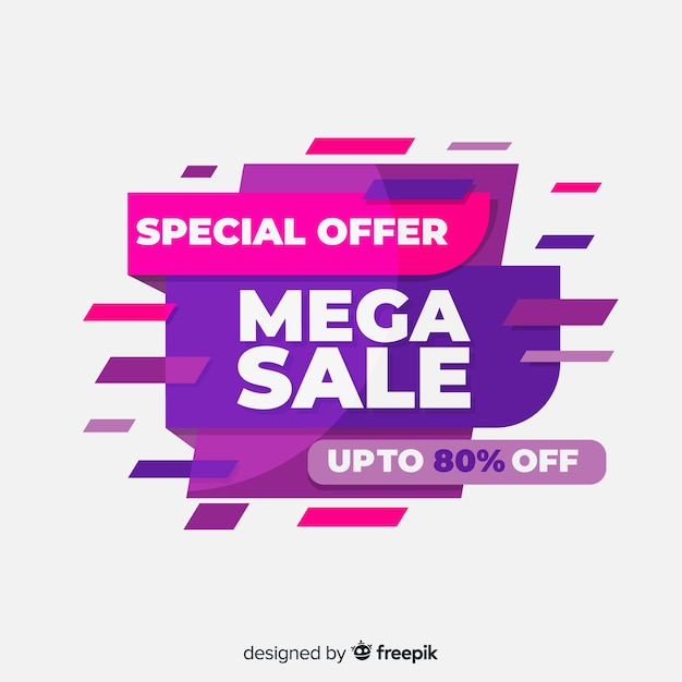 Abstract colorful sales banner flat design Free Vector