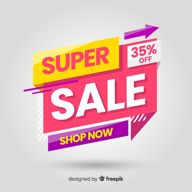 Abstract colorful sales banner template Free Vector