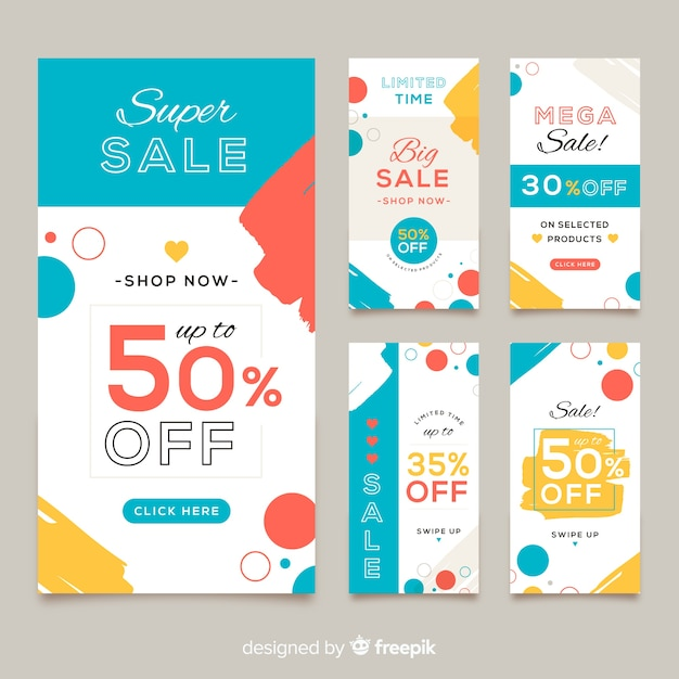 Abstract colorful sales banner templates collection Free Vector