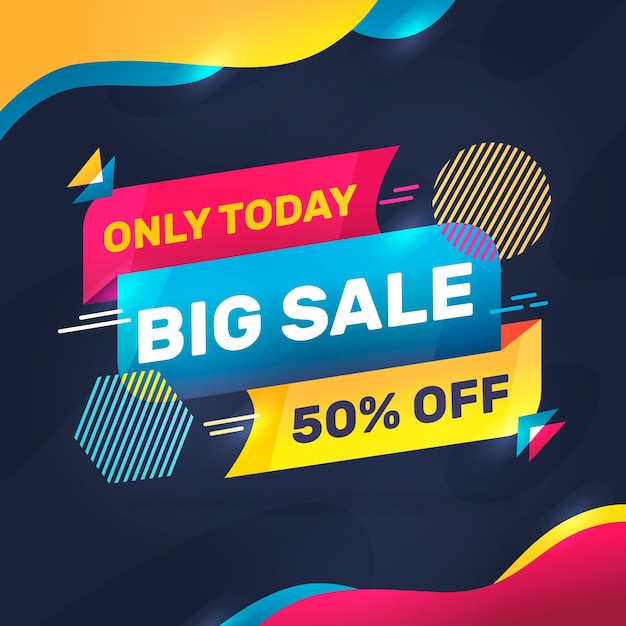 Abstract colorful sales banner Free Vector