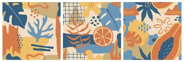 Абстрактные красочные формы, набор из трех бесшовных узоров, рисованной цветы и листья монстеры в стиле каракули. Premium векторы