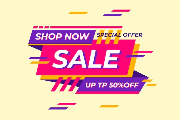 Abstract colorful shop now banner Free Vector
