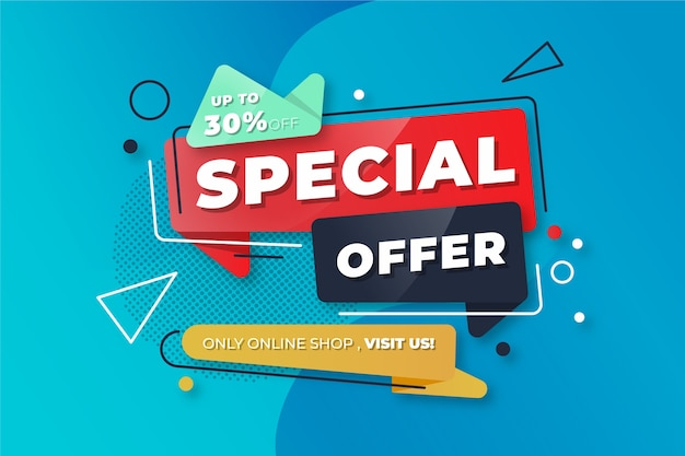 Abstract colorful special offer banner Free Vector