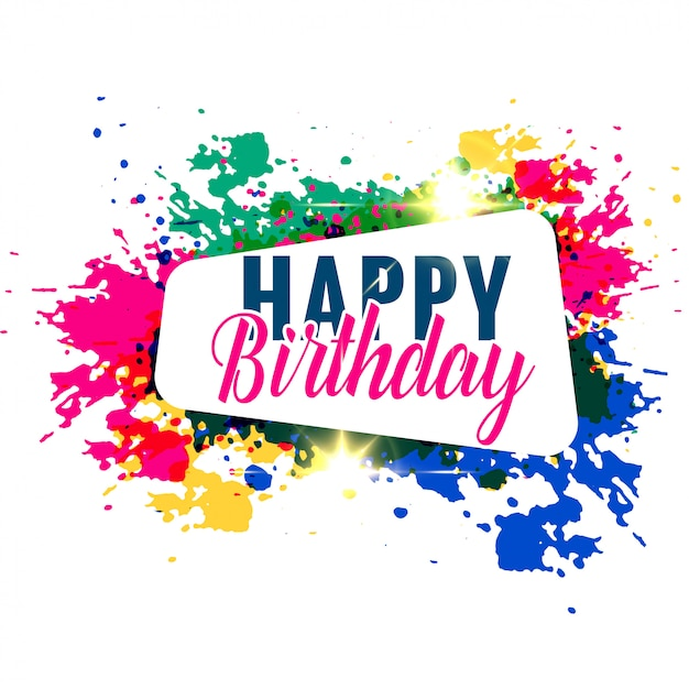 abstract colorful splash happy birthday greeting design Free Vector