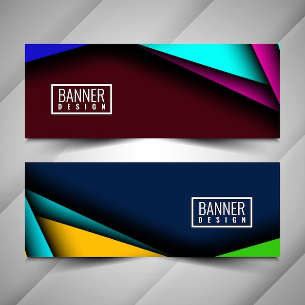 Abstract colorful stylish banners set Free Vector