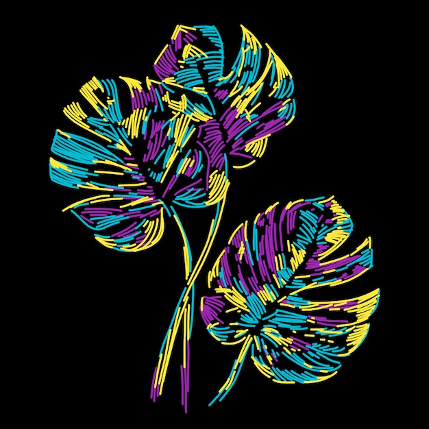 Abstract colorful summer tropical leaf Premium Vector