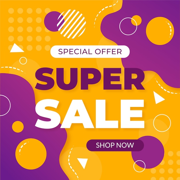 Abstract colorful super sale background Free Vector