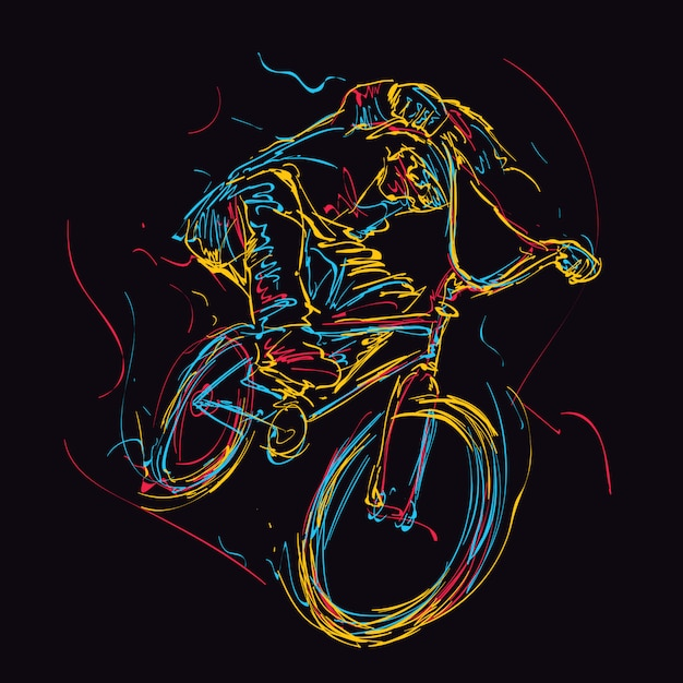Abstract colorful teenage bmx rider illustration Premium Vector