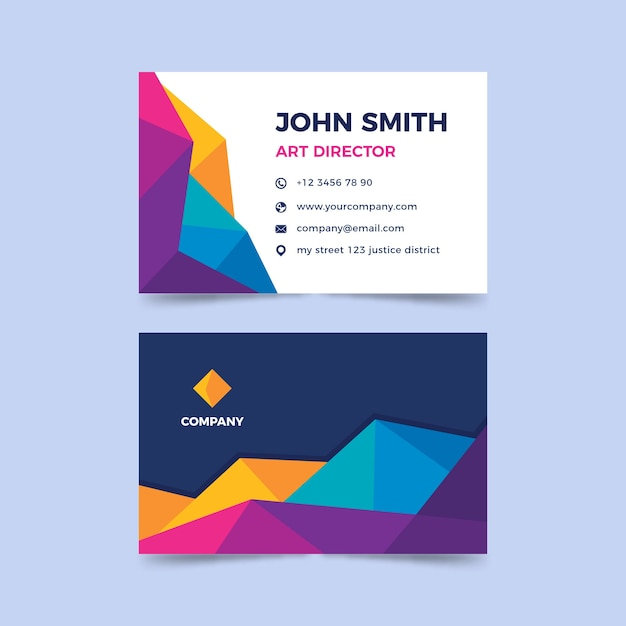 Abstract colorful template business card Free Vector