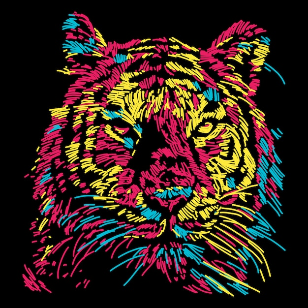 Abstract colorful tiger face illustration Premium Vector
