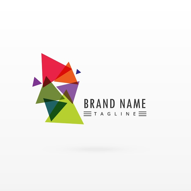 Abstract colorful triangle logo design Free Vector