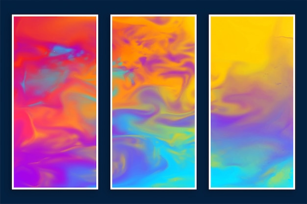 Abstract colorful watercolor banners set of three Free Vector