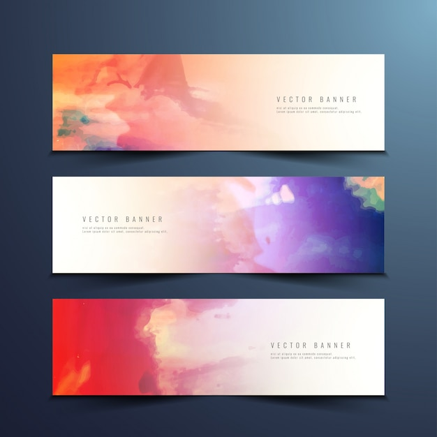 Abstract colorful watercolor banners Free Vector