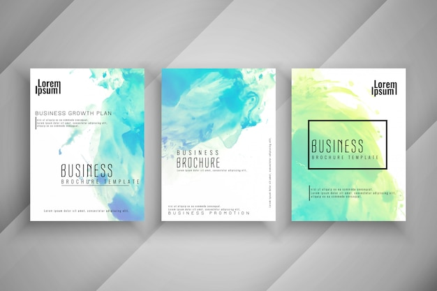 Abstract colorful watercolor Business brochure set Free Vector