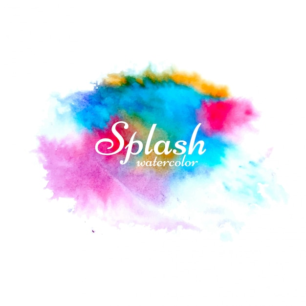 Abstract colorful watercolor splash design Free Vector