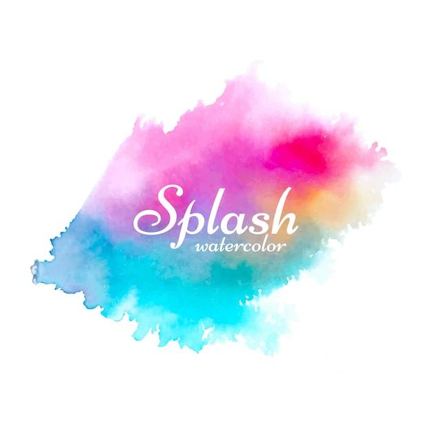 Abstract colorful watercolor splash design Free Vector