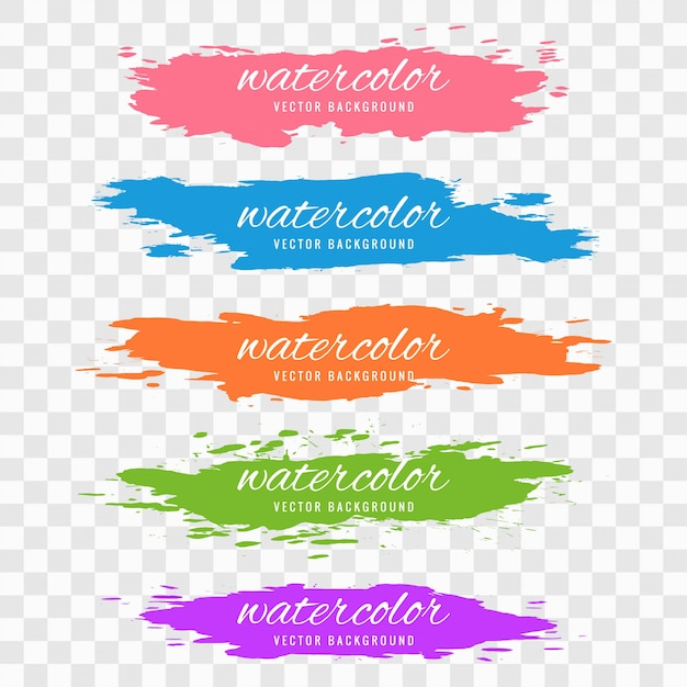 Abstract colorful watercolor stroke set design Free Vector