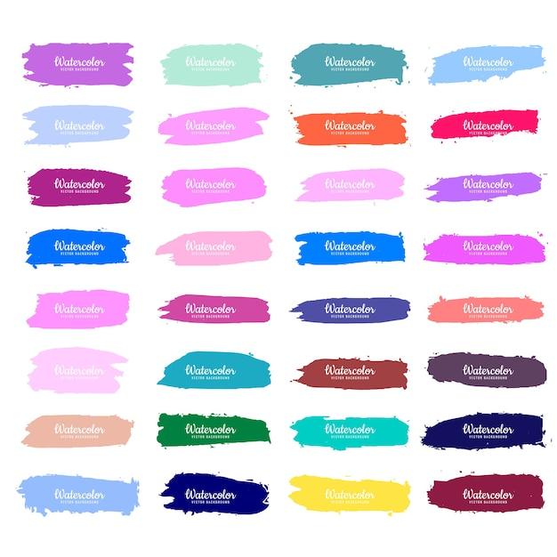 Абстрактный красочный акварельный дизайн набора инсульта Бесплатные векторы