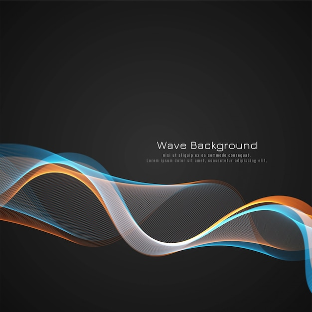 Abstract colorful wave dark background design Free Vector