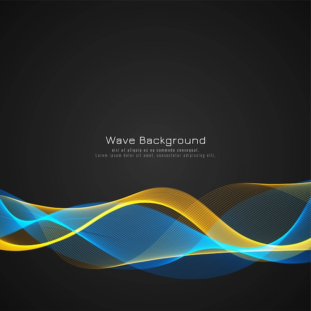 Abstract colorful wave dark vector background Free Vector